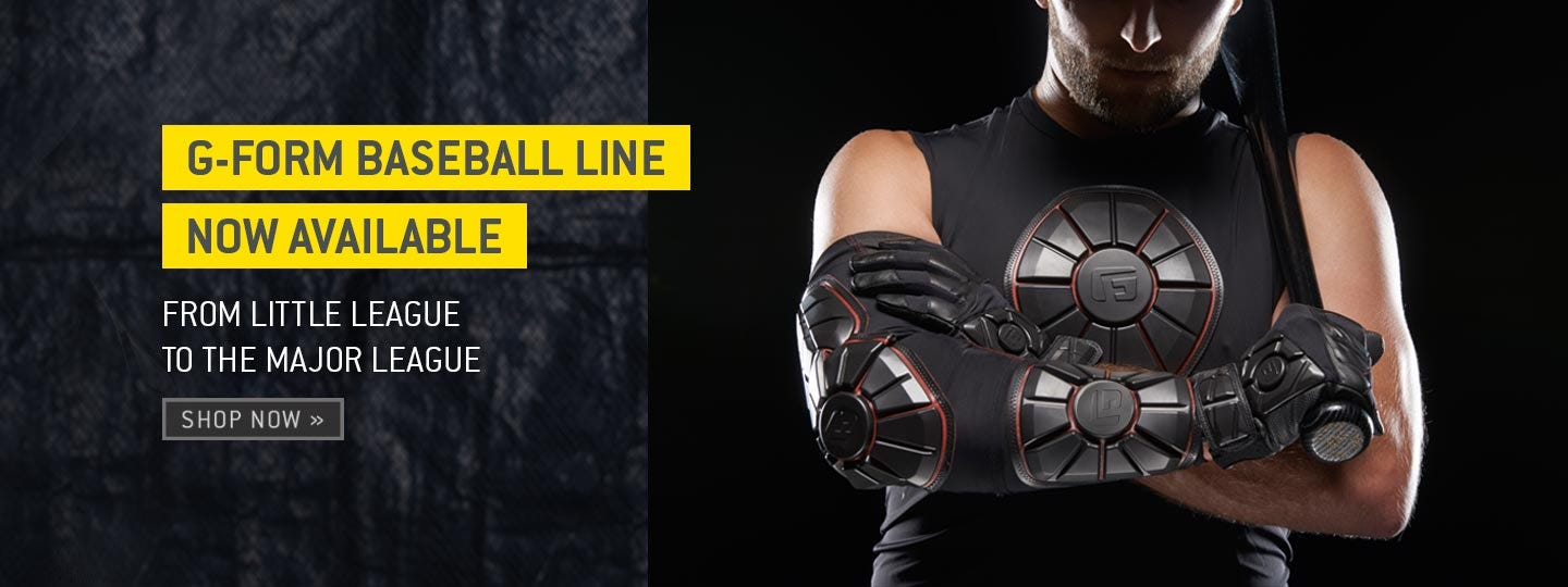 Go ahead. Crowd the plate. G-Form is pleased to announce its new baseball line.