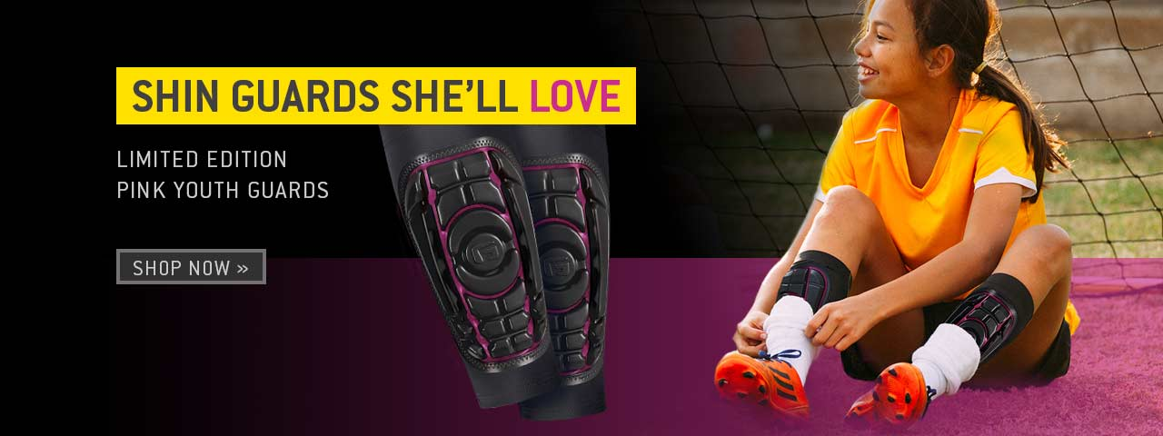 Shin guards she'll LOVE. Limited edition pink shin guards. Shop now.
